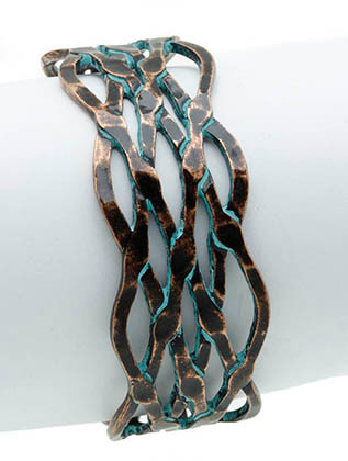 Bracelet / Aged Finish Metal / Cuff / Hammered / Cutout / Wavy / Intertwined / 2 1/2 Inch Diameter / 3/4 Inch Tall / Nickle And Lead Compliant