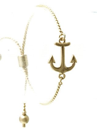 Bracelet / Metal Anchor / Adjustable Chain / Matte Finish / Metallic Bead / 2 1/4 Inch Diameter / 1/2 Inch Tall / Nickel And Lead Compliant