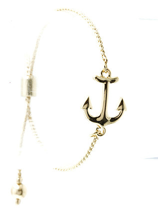 Bracelet / Metal Anchor / Adjustable Chain / Metallic Bead / 2 1/4 Inch Diameter / 1/2 Inch Tall / Nickel And Lead Compliant