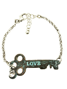 Bracelet / Aged Finish Metal / Key Message / Love / Crystal Stone / Link / Chain / 7 Inch Long / 3/4 Inch Tall / Nickel And Lead Compliant