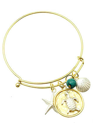Bracelet / Charm / Bangle / Stackable / Sealife / Starfish / Dolfin / Natural Stone Finish / Hammered / Two Tone Metal / 2 1/2 Inch Diameter / Nickel And Lead Compliant