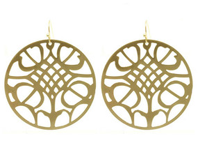 Patterned Round Earrings - Gold