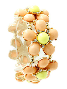 Bracelet / Lucite Flower / Stretch / Crystal Stone / Metal Setting / 2 Inch Diameter / Nickel And Lead Compliant