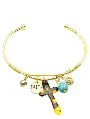 Bracelet / Charm / Cuff / Cross / Faith / Lucite Cross / Pave Crystal Stone /Natural Stone Finish / Iridescent Bead / 2 1/4 Inch Diameter / Nickel And Lead Compliant