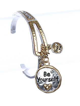 Bracelet / Be Yourself / Charm / Cuff / Only You / Heart / Hammered Metal / 2 1/2 Inch Diameter / Nickel And Lead Compliant