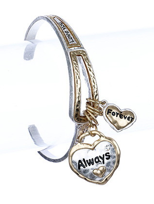 Bracelet / Charm / Cuff / Always / Forever / Love You / Crystal Stone / Matte Finish / Hammered Metal / 2 1/2 Inch Diameter / Nickel And Lead Compliant