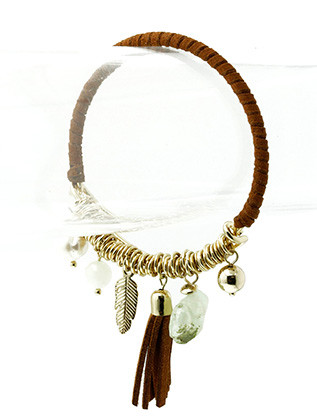 Bracelet / Charm / Bangle / Stackable / Suede Strand Wrapped / Tassel / Pearl / Homaica / Natural Stone Finish / Feather / Metal Ring / 2 1/4 Inch Diameter / Nickel And Lead Compliant