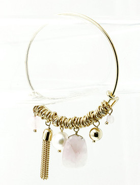 Bracelet / Charm / Bangle / Stackable / Pearl / Homaica Stone / Metal Ring / 2 1/2 Inch Diameter / Nickel And Lead Compliant