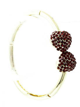 Bracelet / Segmented Metal / Cuff / Double Heart / Pave Crystal Stone / Adjustable / 2 1/2 Inch Diameter / Nickel And Lead Compliant