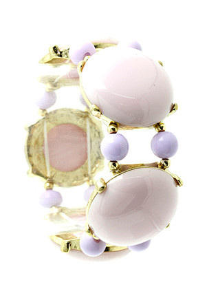 Bracelet / Bubble / Stretch / Homaica Stone / Metal Setting / 2 Inch Diameter / Nickel And Lead Compliant