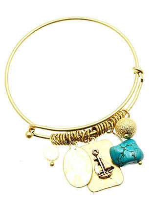 Bracelet / Charm / Bangle / Stackable / Sail Boat / Two Tone / Hammered Metal / Pearl / Natural Stone / Matte / 2 1/2 Inch Diameter / Nickel And Lead Compliant