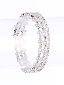 Bracelet / Pave Crystal Stone / Coil / Pearl / 2 1/4 Inch Diameter / Nickel And Lead Compliant
