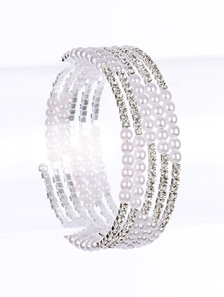 Bracelet / Pave Crystal Stone / Coil / Mini Pearl / 2 1/4 Inch Diameter / Nickel And Lead Compliant