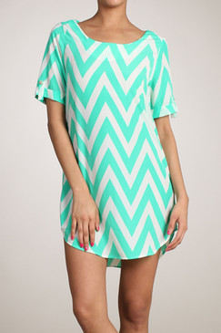 Peach Love Cream High/Low Mint Chevron Dress