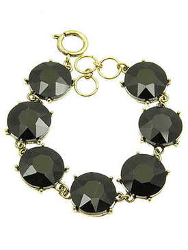 Bracelet / Round Cut / Faceted Homaica Stone / 7 Inch Long / 18Mm Stone / Nickel And Lead Compliant