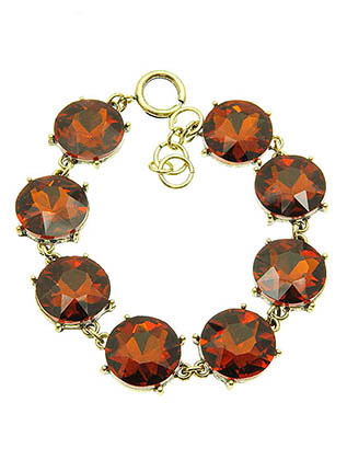Bracelet / Round Cut / Faceted Homaica Stone / 7 Inch Long / 16Mm Stone / Nickel And Lead Compliant