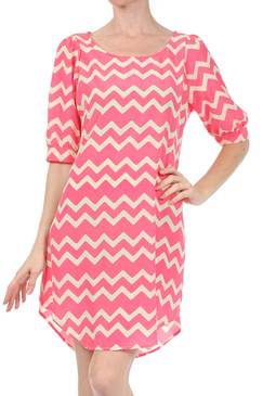 Peach Love Cream Relaxed Chevron Dress with Puffed Sleeves