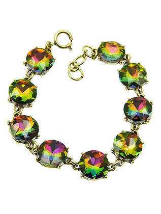 Bracelet / Round Cut / Faceted Homaica Stone / 7 Inch Long / 12Mm Stone / Nickel And Lead Compliant