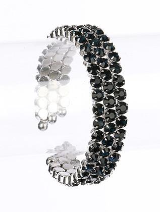 Bracelet / Glass Stone / Cuff / Stretch / Metal Setting / 2 1/4 Inch Diameter / Nickel And Lead Compliant
