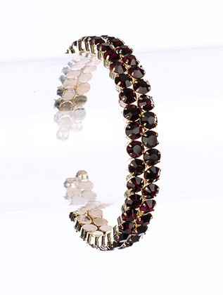 Bracelet / Glass Stone / Cuff / Stretch / Metal Setting / 2 1/4 Inch Diameter / Nickel And Lead Compliant