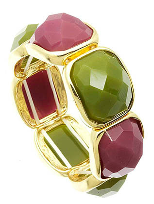 Bracelet / Faceted Homaica Stone / Stretch / Metal Setting / 2 1/4 Inch Diameter / Nickel And Lead Compliant