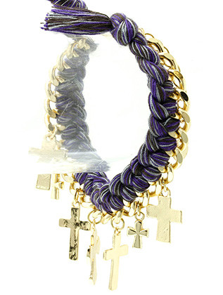 Bracelet / Cross Charm / Braided Thread / Chunky Link / Hammered Metal / Aged Finish / 7 Inch Long / Nickel And Lead Compliant