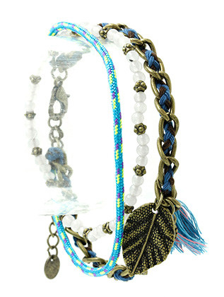 Bracelet / Leaf Charm / Double Strand / 2 Pc / Woven Cord / Stretch / Homaica Stone / Braided Thread / Tassel / Natural Stone Finish / Metal Bead / Aged Finish / Chain / 2 1/4 Inch Diameter / Nickel And Lead Compliant