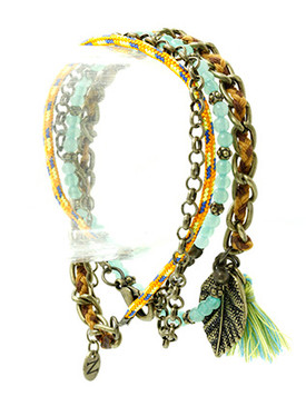 Bracelet / Leaf Charm / Wraparound / Glass Bead / Textured Metal / Aged Finish / Braided Thread / Tassel / Link / Woven Cord / 30 Inch Long / Nickel And Lead Compliant