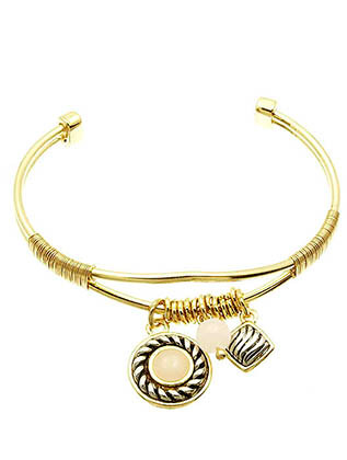 Bracelet / Cuff / Charm / Textured Metal / Lucite / Wired / Metallic Ring Bead / 2 1/4 Inch Diameter / Nickel And Lead Compliant