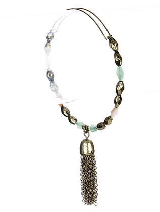 Bracelet / Homaica Bead / Bangle / Stackable / Tassel Charm / Metallic Bead / Iridescent / Aged Finish / 2 3/4 Inch Diameter / Nickel And Lead Compliant