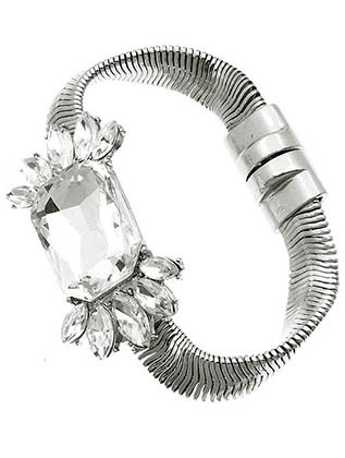 Bracelet / Faceted Homaica Stone / Snake Chain / Magnetic / 2 1/2 Inch Diameter / Nickel And Lead Compliant
