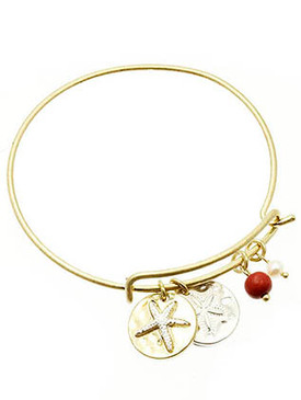 Bracelet / Starfish / Bangle / Stackable / Hammered Metal / Natural Stone Finish / Pearl Finish / 2 1/4 Inch Diameter / Nickel And Lead Compliant
