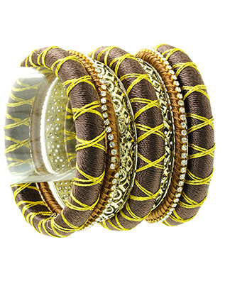 Bracelet / Stackable / 7 Pc Bangle / Thread Wrap / Carved Metal / Glass Stone / 2 3/4 Inch Diameter / Nickel And Lead Compliant