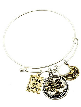 Bracelet / Bangle / Charm / Stackable / Tree Of Life / Heart / Hammered Metal / 2 Tone Metal / Aged Finish / 2 1/2 Inch Diameter / Nickel And Lead Compliant