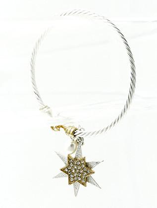 Bracelet / Brass Cuff Bangle / Stackable / Star / Arrow / Heart / Pearl / 2 1/2 Diameter / Nickle And Lead Compliant