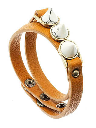 Bracelet / Leather Wrap / 3 Stone / 1/3 Inch Wide / Nickle And Lead Complaint / 15 Inch Long /