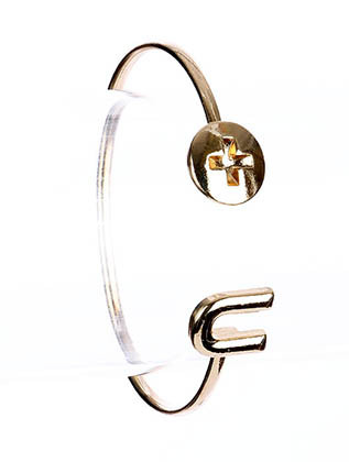 Bracelet / Screw U / Cuff / Pave Crystal Stone / 2 1/2 Inch Diameter / Nickel And Lead Compliant
