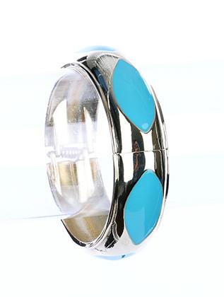 Bracelet / Almond Shape / Hinge / Epoxy / Metal / 2 1/2 Inch Diameter / Nickel And Lead Compliant