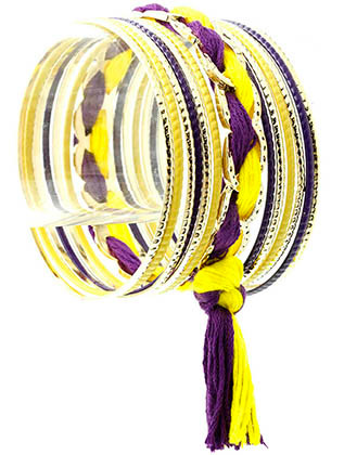 Bracelet / Bangle / Metal / Epoxy / Woven Fabric / 13 Pcs / Stackable / 3 Inch Diameter / Nickel And Lead Compliant