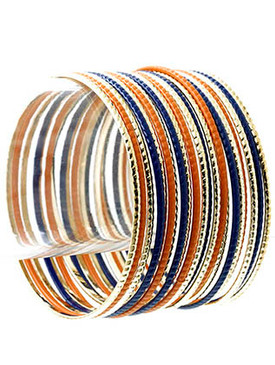 Bracelet / Bangle / Metal / Epoxy / 21 Pcs / Stackable / 3 Inch Diameter / Nickel And Lead Compliant