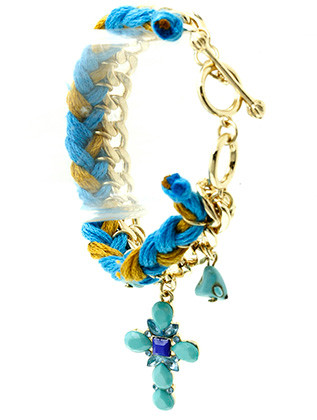 Bracelet / Shourouk / Toggle / Charm / Lucite Stone / Natural Stone / Link / Braided Fabric / 7 Inch Long / Nickel And Lead Compliant