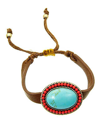 Bracelet / Oval / Natural Stone / Faux Leather / Metal Bead / Brunished Metal / Adjustable / 3 Inch Diameter / Nickel And Lead Compliant