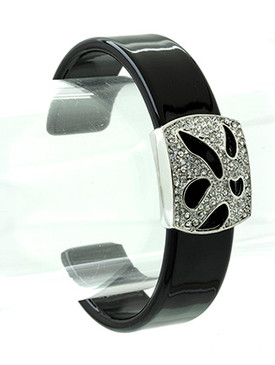 Bracelet / Crystal Stone / Metal / Cuff / Bangle / Epoxy / 2 1/2 Inch Diameter / Nickel And Lead Compliant