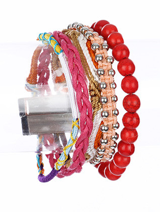 Bracelet / Multi Strand / Magnetic Clasp / Metal / Metal Chain / Lucite Bead / Natural Stone / Fabric / 7 Inch Long / Nickel And Lead Compliant