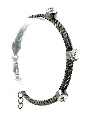 Bracelet / Faceted Glass Bead / Mesh Metal / 2 1/2 Inch Diameter / Nickel And Lead Compliant