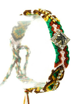 Bracelet / Bohemian / Knitted / Crystal Stone / Faceted / Lucite Stone / Adjustable / Metal / 6 Inch Long / Nickel And Lead Compliant