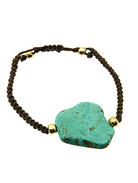 Bracelet / Natural Stone / Knitted / Metal Bead / Adjustable / 3 Inch Diameter / Nickel And Lead Compliant