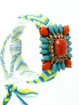 Bracelet / Lucite Stone / Knitted / Crystal Stone / Faceted Stone / Burnished Metal / Ajustable / 3 Inch Diameter / Nickel And Lead Compliant