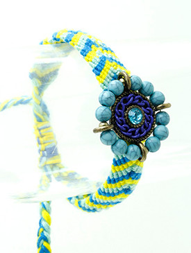 Bracelet / Natural Stone / Knitted / Metal / Glass Bead / Ajustable / 3 Inch Diameter / Nickel And Lead Compliant
