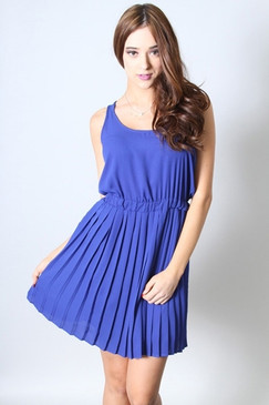 Pleated Crepe Dress with Lined Skirt